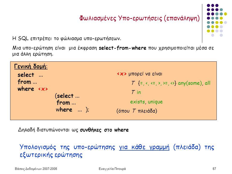 Βάσεις Δεδομένων 2007-2008Ευαγγελία Πιτουρά87 Φωλιασμένες Υπο-ερωτήσεις (επανάληψη) Η SQL επιτρέπει το φώλιασμα υπο-ερωτήσεων.