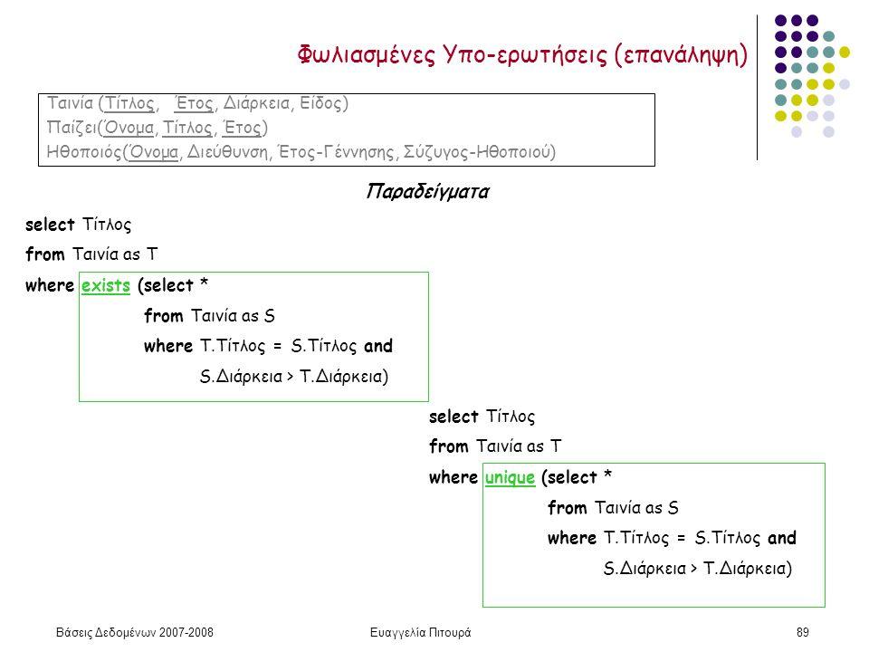 Βάσεις Δεδομένων 2007-2008Ευαγγελία Πιτουρά89 Φωλιασμένες Υπο-ερωτήσεις (επανάληψη) Παραδείγματα Ταινία (Τίτλος, Έτος, Διάρκεια, Είδος) Παίζει(Όνομα, Τίτλος, Έτος) Ηθοποιός(Όνομα, Διεύθυνση, Έτος-Γέννησης, Σύζυγος-Ηθοποιού) select Τίτλος from Ταινία as T where exists (select * from Ταινία as S where T.Τίτλος = S.Tίτλος and S.Διάρκεια > Τ.Διάρκεια) select Τίτλος from Ταινία as T where unique (select * from Ταινία as S where T.Τίτλος = S.Tίτλος and S.Διάρκεια > Τ.Διάρκεια)