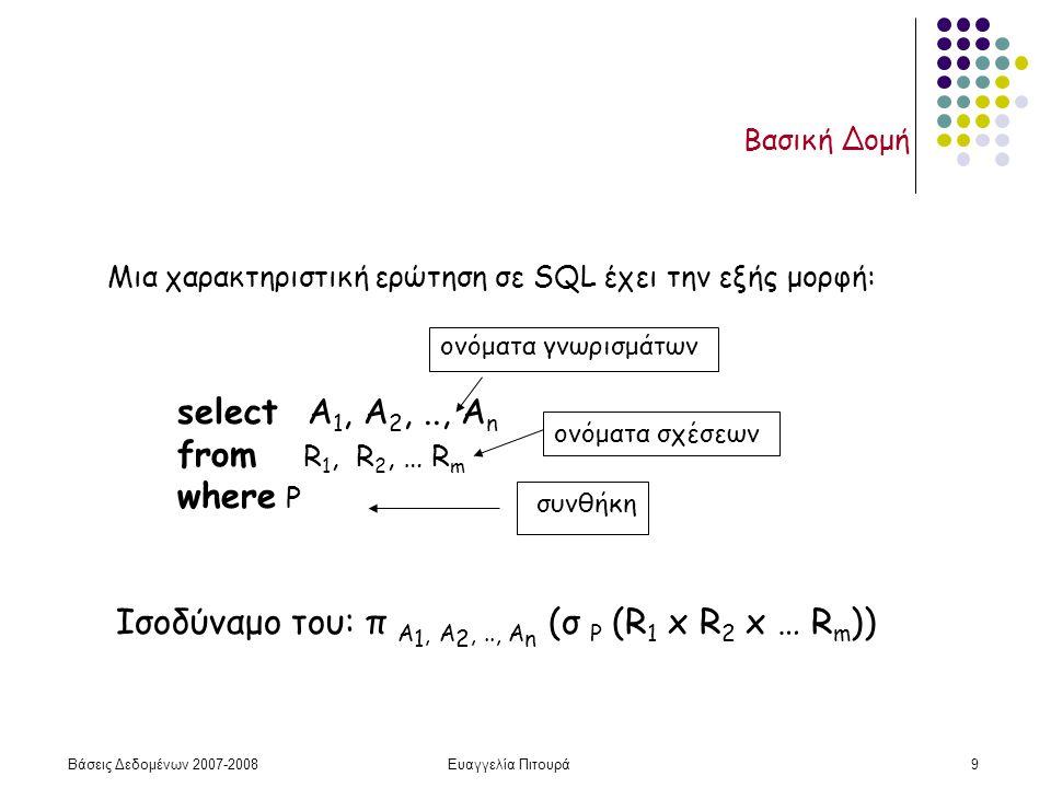 Βάσεις Δεδομένων 2007-2008Ευαγγελία Πιτουρά9 Βασική Δομή select Α 1, Α 2,.., Α n from R 1, R 2, … R m where P Μια χαρακτηριστική ερώτηση σε SQL έχει την εξής μορφή: Ισοδύναμο του: π A 1, A 2,.., A n (σ P (R 1 x R 2 x … R m )) ονόματα σχέσεων ονόματα γνωρισμάτων συνθήκη