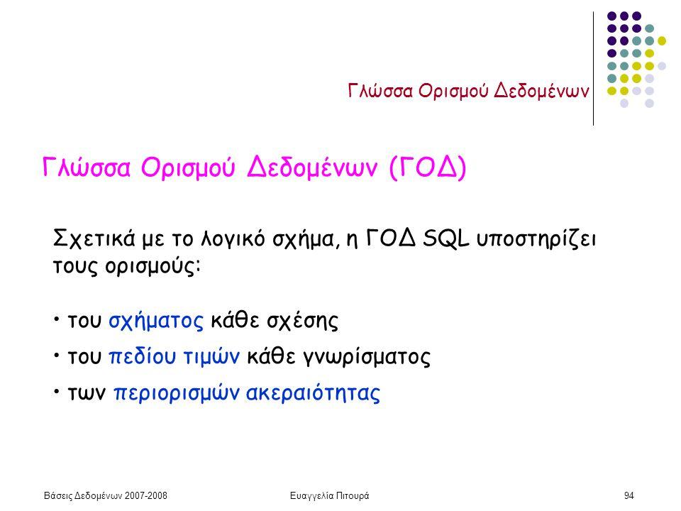 Βάσεις Δεδομένων 2007-2008Ευαγγελία Πιτουρά94 Γλώσσα Ορισμού Δεδομένων Γλώσσα Ορισμού Δεδομένων (ΓΟΔ) Σχετικά με το λογικό σχήμα, η ΓΟΔ SQL υποστηρίζει τους ορισμούς: του σχήματος κάθε σχέσης του πεδίου τιμών κάθε γνωρίσματος των περιορισμών ακεραιότητας