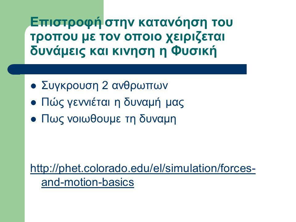 Επιστροφή στην κατανόηση του τροπου με τον οποιο χειριζεται δυνάμεις και κινηση η Φυσική Συγκρουση 2 ανθρωπων Πώς γεννιέται η δυναμή μας Πως νοιωθουμε τη δυναμη http://phet.colorado.edu/el/simulation/forces- and-motion-basics