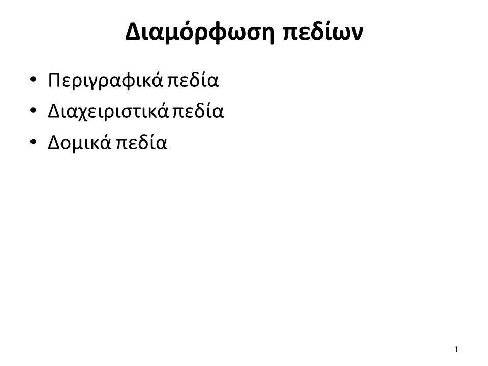 Διαμόρφωση πεδίων Περιγραφικά πεδία Διαχειριστικά πεδία Δομικά πεδία 1