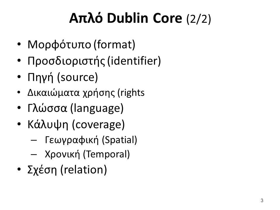 Απλό Dublin Core (2/2) Μορφότυπο (format) Προσδιοριστής (identifier) Πηγή (source) Δικαιώματα χρήσης (rights Γλώσσα (language) Κάλυψη (coverage) – Γεω