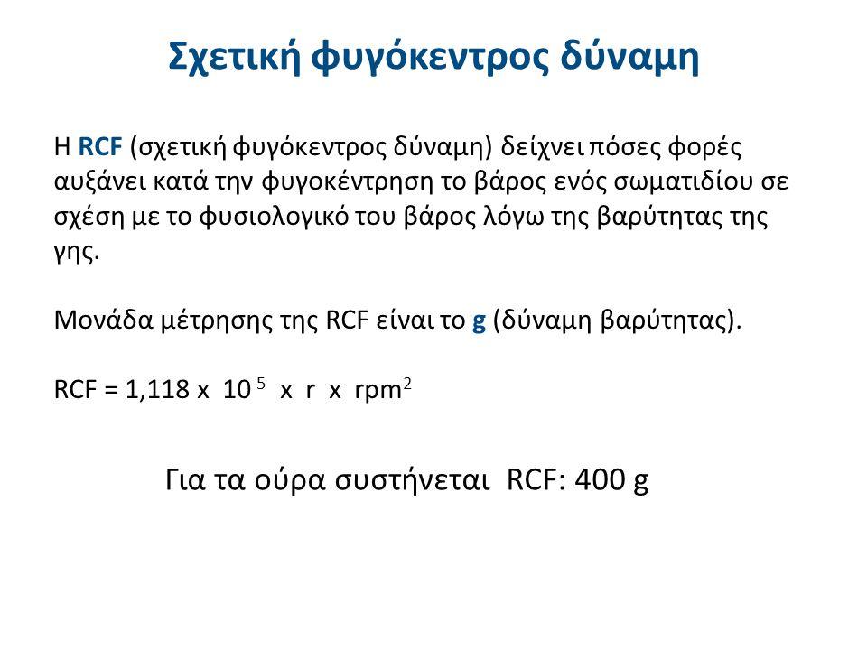 Σχετική φυγόκεντρος δύναμη Η RCF (σχετική φυγόκεντρος δύναμη) δείχνει πόσες φορές αυξάνει κατά την φυγοκέντρηση το βάρος ενός σωματιδίου σε σχέση με τ