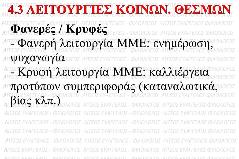Φανερές / Κρυφές - Φανερή λειτουργία ΜΜΕ: ενημέρωση, ψυχαγωγία - Κρυφή λειτουργία ΜΜΕ: καλλιέργεια προτύπων συμπεριφοράς (καταναλωτικά, βίας κλπ.) 4.3