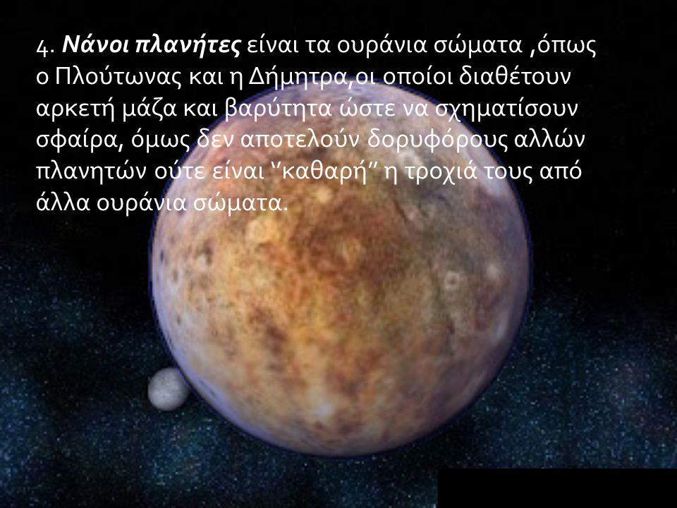 4. Νάνοι πλανήτες είναι τα ουράνια σώματα,όπως ο Πλούτωνας και η Δήμητρα,οι οποίοι διαθέτουν αρκετή μάζα και βαρύτητα ώστε να σχηματίσουν σφαίρα, όμως