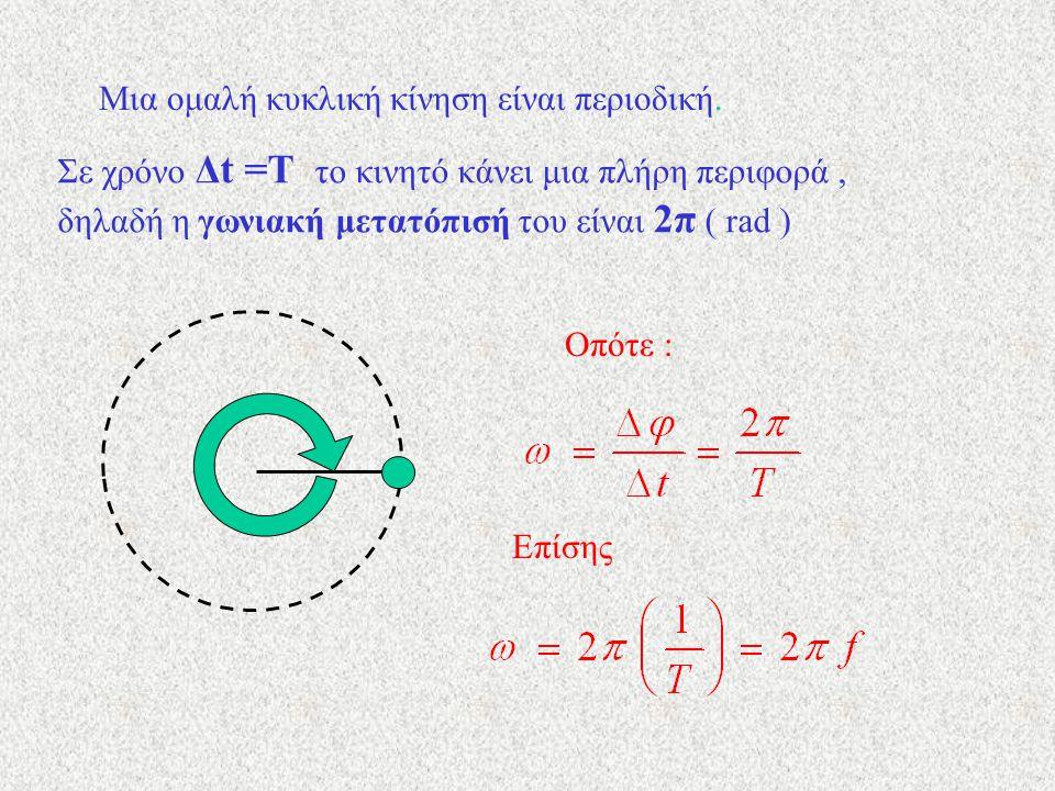 Μια ομαλή κυκλική κίνηση είναι περιοδική. Σε χρόνο Δt =Τ το κινητό κάνει μια πλήρη περιφορά, δηλαδή η γωνιακή μετατόπισή του είναι 2π ( rad ) Οπότε :