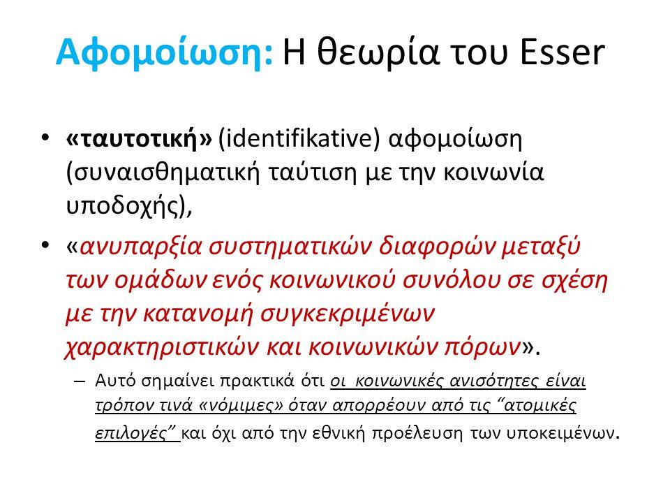 Αφομοίωση: Η θεωρία του Esser «ταυτοτική» (identifikative) αφομοίωση (συναισθηματική ταύτιση με την κοινωνία υποδοχής), «ανυπαρξία συστηματικών διαφορ