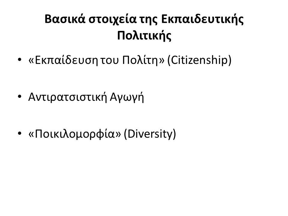 Βασικά στοιχεία της Εκπαιδευτικής Πολιτικής «Εκπαίδευση του Πολίτη» (Citizenship) Αντιρατσιστική Αγωγή «Ποικιλομορφία» (Diversity)