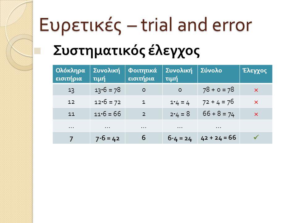 Ευρετικές – trial and error Συστηματικός έλεγχος Ολόκληρα εισιτήρια Συνολική τιμή Φοιτητικά εισιτήρια Συνολική τιμή ΣύνολοΈλεγχος 13 13  6 = 78 0078 + 0 = 78  12 12  6 = 72 1 1  4 = 4 72 + 4 = 76  11 11  6 = 66 2 2  4 = 8 66 + 8 = 74  …………… 7 7  6 = 42 6 6  4 = 24 42 + 24 = 66