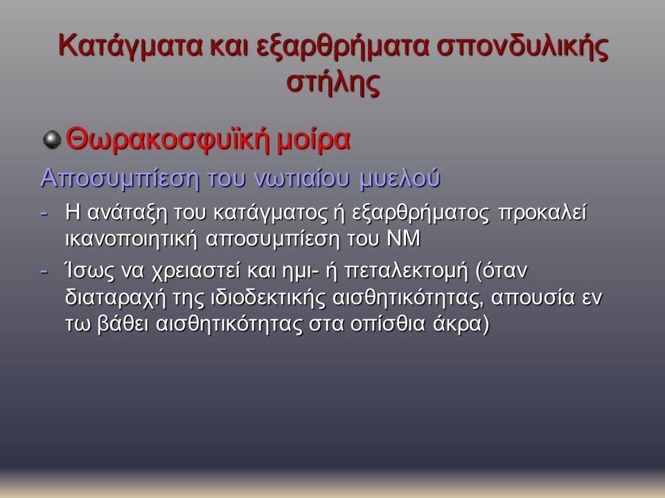 Κατάγματα και εξαρθρήματα σπονδυλικής στήλης Θωρακοσφυϊκή μοίρα Αποσυμπίεση του νωτιαίου μυελού -Η ανάταξη του κατάγματος ή εξαρθρήματος προκαλεί ικαν