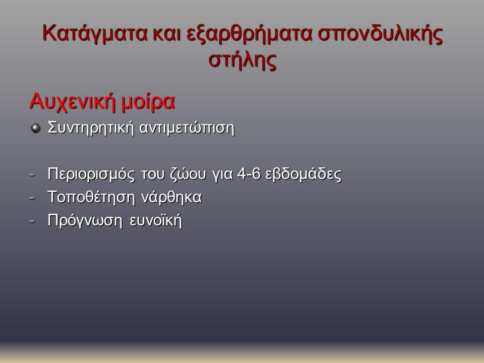 Κατάγματα και εξαρθρήματα σπονδυλικής στήλης Αυχενική μοίρα Συντηρητική αντιμετώπιση -Περιορισμός του ζώου για 4-6 εβδομάδες -Τοποθέτηση νάρθηκα -Πρόγ