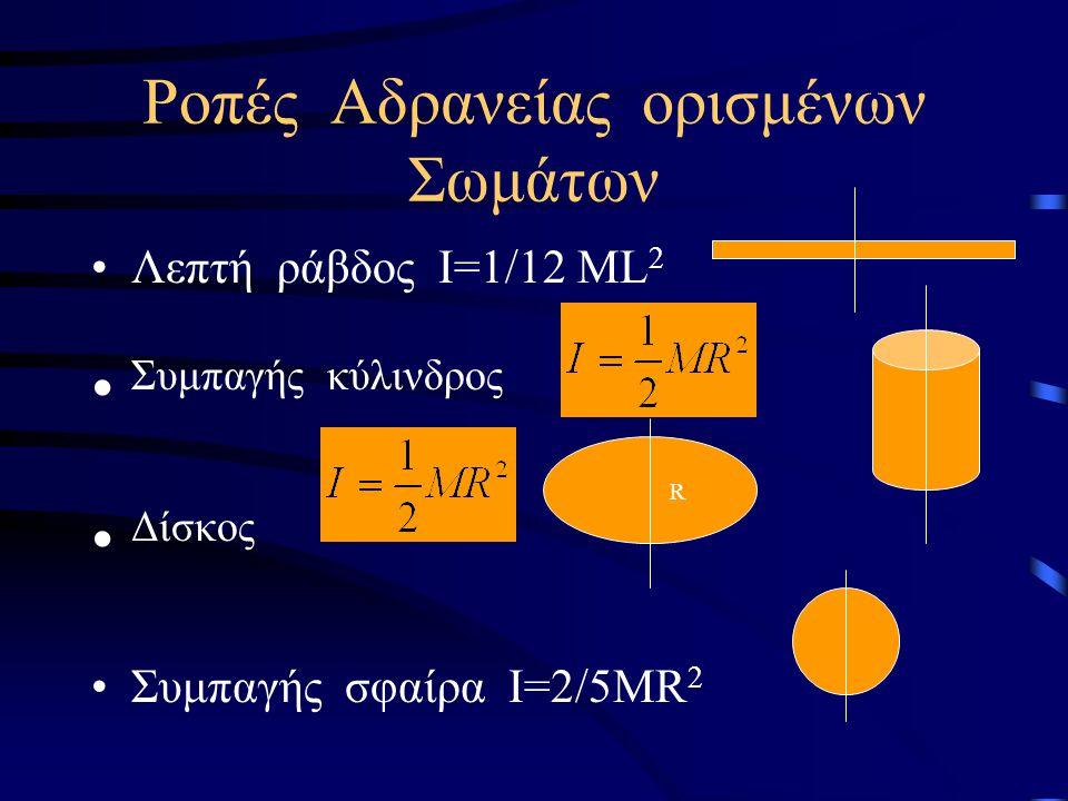 Ροπή Αδράνειας I=m 1 r 1 2 +m 2 r 2 2 +….. Η ροπή αδράνειας είναι μονόμετρο μέγεθος και έχει μονάδα το 1 Kg m 2