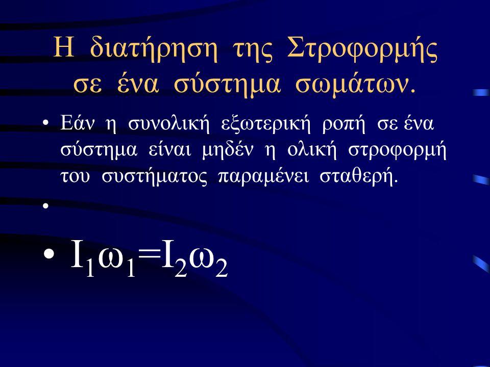Διατήρηση της Στροφορμής Αν σε ένα σώμα το άθροισμα των ροπών είναι μηδέν (Στ=0) από την σχέση Στ= προκύπτει ότι =0,επομένως, L=σταθ. Η στροφορμή του