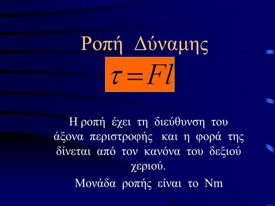 Διατήρηση της Στροφορμής Αν σε ένα σώμα το άθροισμα των ροπών είναι μηδέν (Στ=0) από την σχέση Στ= προκύπτει ότι =0,επομένως, L=σταθ.