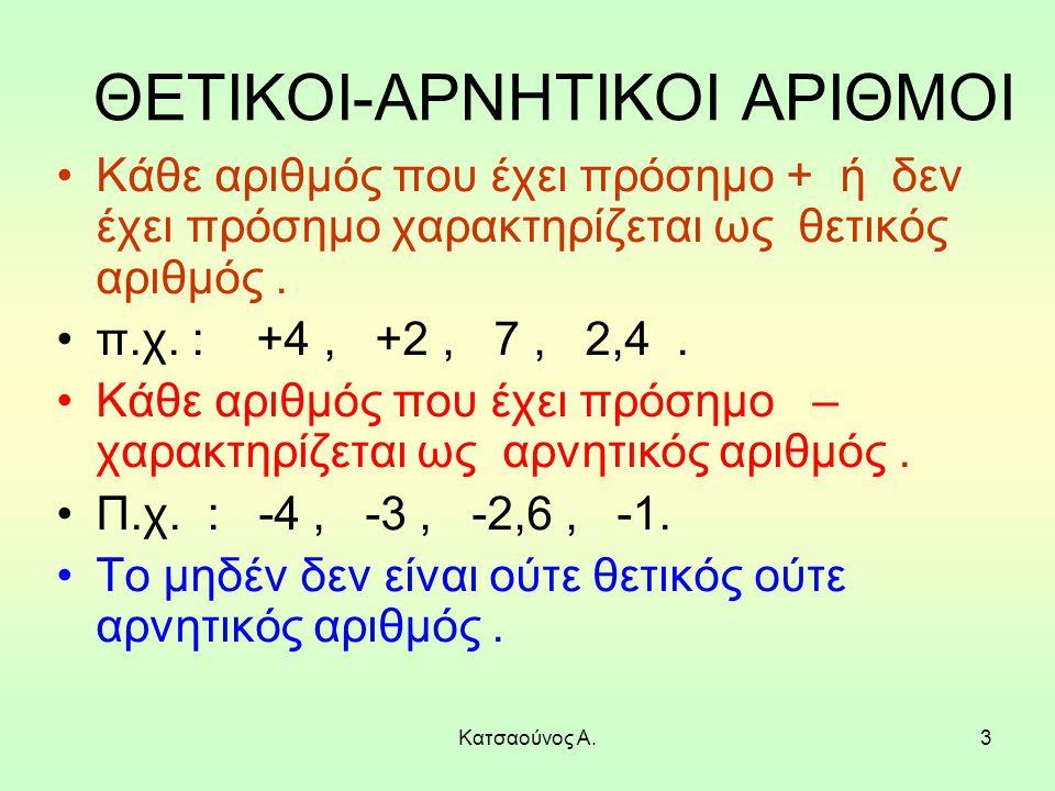 3 ΘΕΤΙΚΟΙ-ΑΡΝΗΤΙΚΟΙ ΑΡΙΘΜΟΙ Κάθε αριθμός που έχει πρόσημο + ή δεν έχει πρόσημο χαρακτηρίζεται ως θετικός αριθμός. π.χ. : +4, +2, 7, 2,4. Κάθε αριθμός