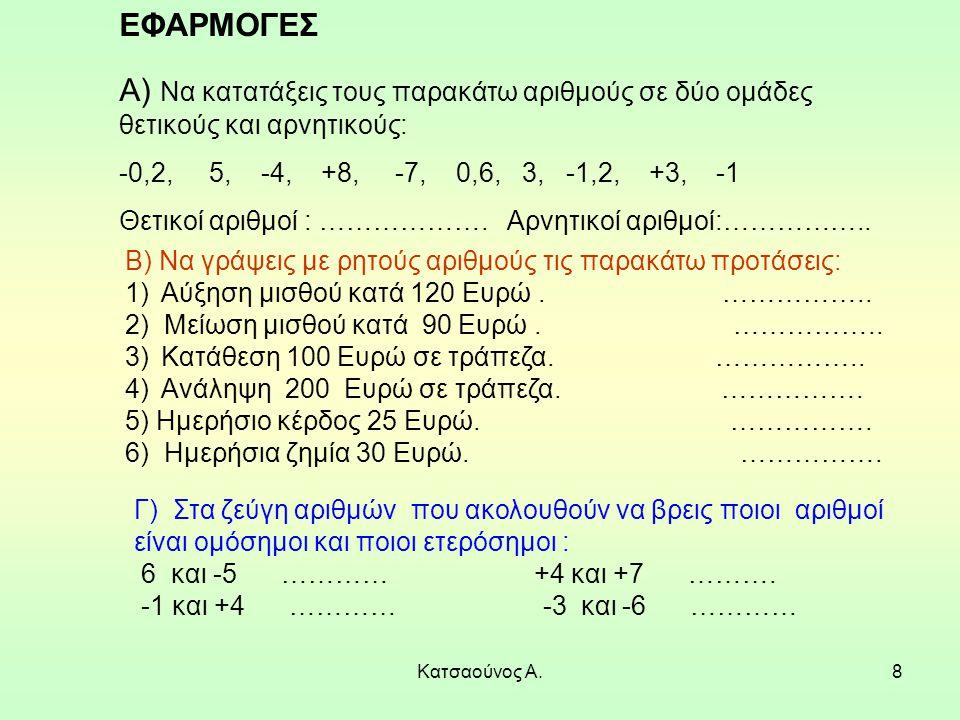 Κατσαούνος Α.8 ΕΦΑΡΜΟΓΕΣ Α) Να κατατάξεις τους παρακάτω αριθμούς σε δύο ομάδες θετικούς και αρνητικούς: -0,2, 5, -4, +8, -7, 0,6, 3, -1,2, +3, -1 Θετι