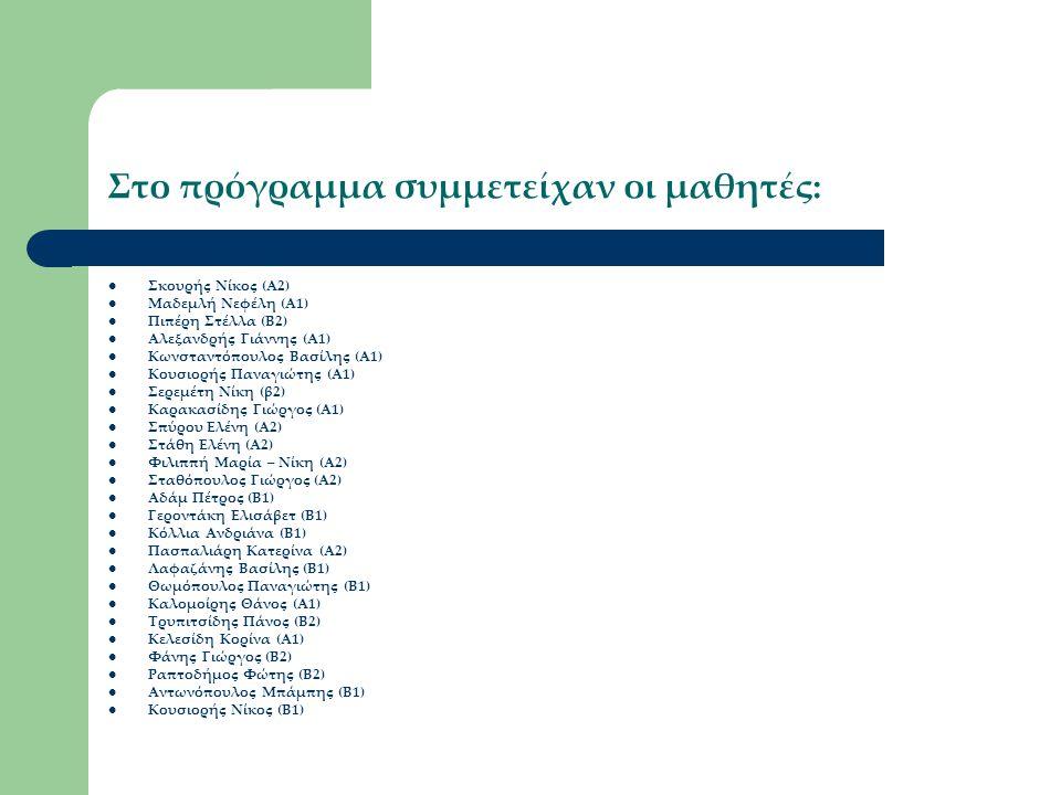 Στο πρόγραμμα συμμετείχαν οι μαθητές: Σκουρής Νίκος (Α2) Μαδεμλή Νεφέλη (Α1) Πιπέρη Στέλλα (Β2) Αλεξανδρής Γιάννης (Α1) Κωνσταντόπουλος Βασίλης (Α1) Κ