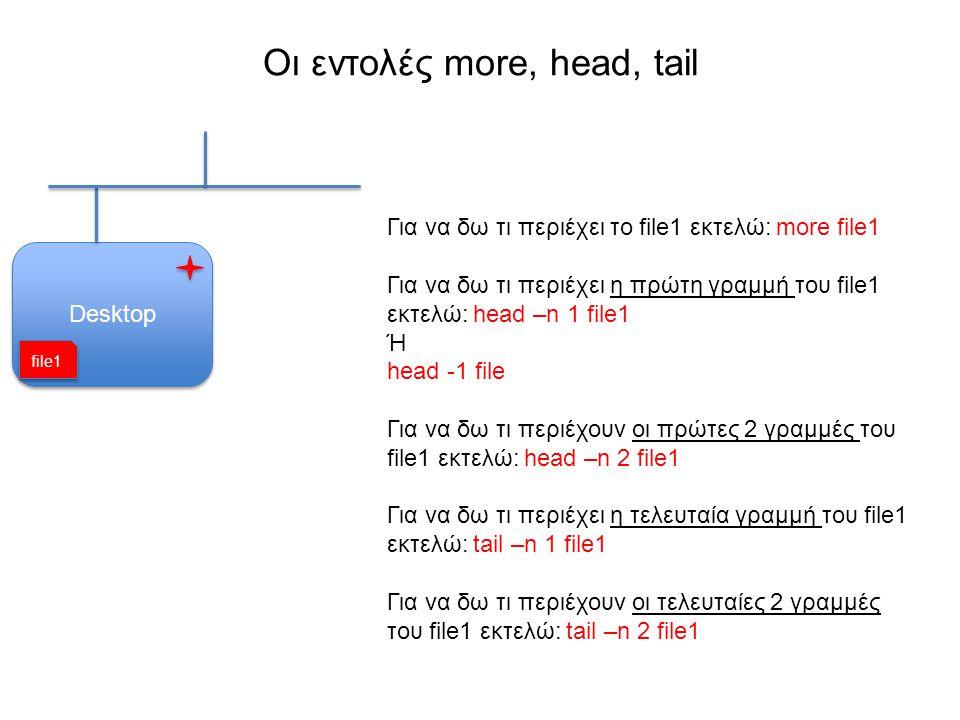 Οι εντολές more, head, tail Desktop Για να δω τι περιέχει το file1 εκτελώ: more file1 Για να δω τι περιέχει η πρώτη γραμμή του file1 εκτελώ: head –n 1 file1 Ή head -1 file Για να δω τι περιέχουν οι πρώτες 2 γραμμές του file1 εκτελώ: head –n 2 file1 Για να δω τι περιέχει η τελευταία γραμμή του file1 εκτελώ: tail –n 1 file1 Για να δω τι περιέχουν οι τελευταίες 2 γραμμές του file1 εκτελώ: tail –n 2 file1 file1