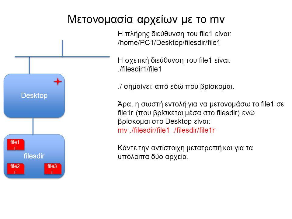 filesdir Μετονομασία αρχείων με το mv Desktop Η πλήρης διεύθυνση του file1 είναι: /home/PC1/Desktop/filesdir/file1 Η σχετική διεύθυνση του file1 είναι:./filesdir1/file1./ σημαίνει: από εδώ που βρίσκομαι.