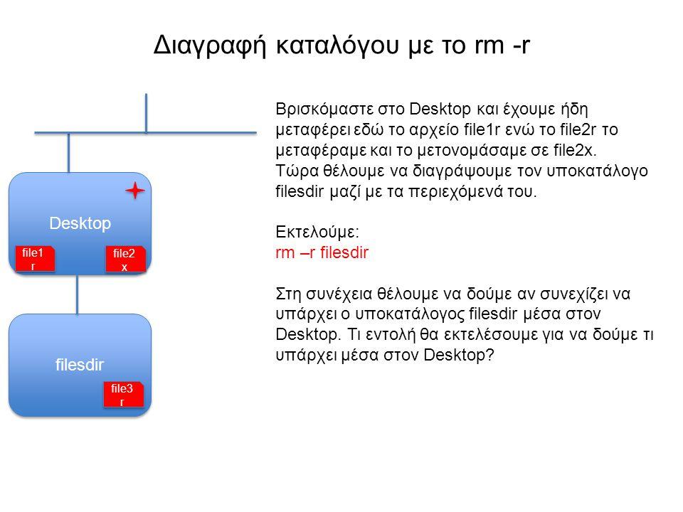 Δικαιώματα αρχείων και καταλόγων Ένα αρχείο μπορούμε να το: Διαβάσουμε (read) Τροποποιήσουμε (write) Εκτελέσουμε, αν είναι πρόγραμμα (execute) Ένα αρχείο μπορεί να είναι προσβάσιμο μόνο για μια από τις παραπάνω τρεις ενέργειες (διάβασμα, τροποποίηση, εκτέλεση), ή για οποιoδήποτε συνδυασμό τους.