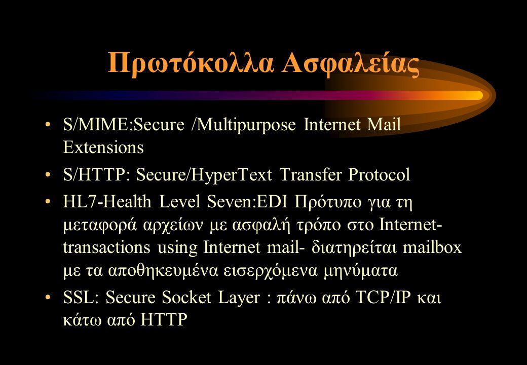 Πρωτόκολλα Ασφαλείας S/MIME:Secure /Multipurpose Internet Mail Extensions S/HTTP: Secure/HyperΤext Transfer Protocol HL7-Health Level Seven:EDI Πρότυπο για τη μεταφορά αρχείων με ασφαλή τρόπο στο Internet- transactions using Internet mail- διατηρείται mailbox με τα αποθηκευμένα εισερχόμενα μηνύματα SSL: Secure Socket Layer : πάνω από TCP/IP και κάτω από HTTP