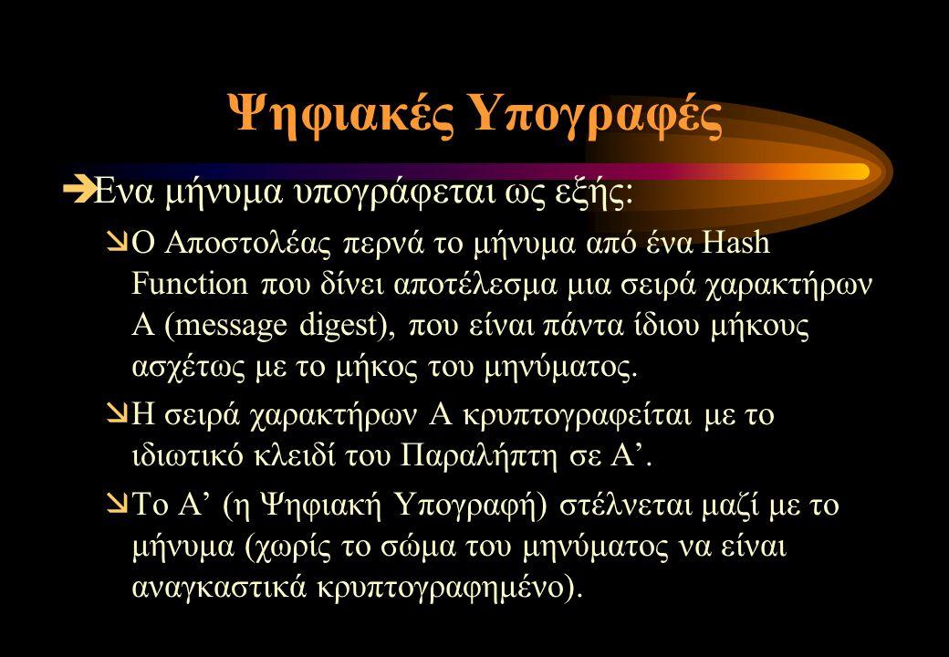 Ψηφιακές Υπογραφές  Ενα μήνυμα υπογράφεται ως εξής:  Ο Αποστολέας περνά το μήνυμα από ένα Hash Function που δίνει αποτέλεσμα μια σειρά χαρακτήρων Α (message digest), που είναι πάντα ίδιου μήκους ασχέτως με το μήκος του μηνύματος.