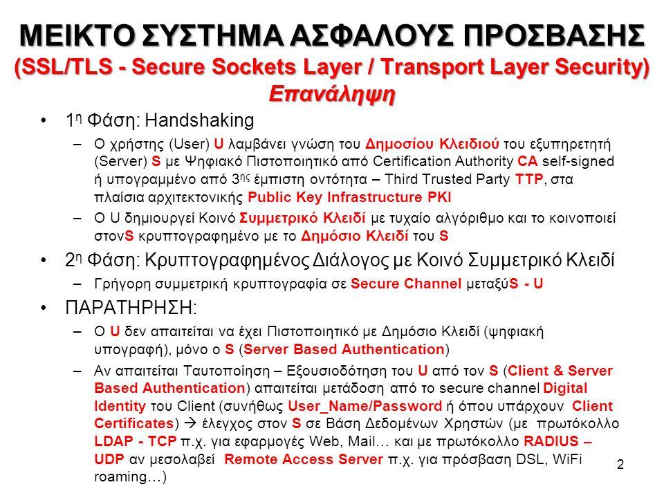 ΜΕΙΚΤΟ ΣΥΣΤΗΜΑ ΑΣΦΑΛΟΥΣ ΠΡΟΣΒΑΣΗΣ (SSL/TLS - Secure Sockets Layer / Transport Layer Security) Επανάληψη 2 1 η Φάση: Handshaking –Ο χρήστης (User) U λαμβάνει γνώση του Δημοσίου Κλειδιού του εξυπηρετητή (Server) S με Ψηφιακό Πιστοποιητικό από Certification Authority CA self-signed ή υπογραμμένο από 3 ης έμπιστη οντότητα – Third Trusted Party TTP, στα πλαίσια αρχιτεκτονικής Public Key Infrastructure PKI –Ο U δημιουργεί Κοινό Συμμετρικό Κλειδί με τυχαίο αλγόριθμο και το κοινοποιεί στονS κρυπτογραφημένο με το Δημόσιο Κλειδί του S 2 η Φάση: Κρυπτογραφημένος Διάλογος με Κοινό Συμμετρικό Κλειδί –Γρήγορη συμμετρική κρυπτογραφία σε Secure Channel μεταξύS - U ΠΑΡΑΤΗΡΗΣΗ: –Ο U δεν απαιτείται να έχει Πιστοποιητικό με Δημόσιο Κλειδί (ψηφιακή υπογραφή), μόνο ο S (Server Based Authentication) –Αν απαιτείται Ταυτοποίηση – Εξουσιοδότηση του U από τον S (Client & Server Based Authentication) απαιτείται μετάδοση από το secure channel Digital Identity του Client (συνήθως User_Name/Password ή όπου υπάρχουν Client Certificates)  έλεγχος στον S σε Βάση Δεδομένων Χρηστών (με πρωτόκολλο LDAP - TCP π.χ.