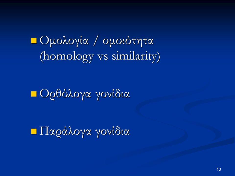 13 Ομολογία / ομοιότητα (homology vs similarity) Ομολογία / ομοιότητα (homology vs similarity) Ορθόλογα γονίδια Ορθόλογα γονίδια Παράλογα γονίδια Παρά
