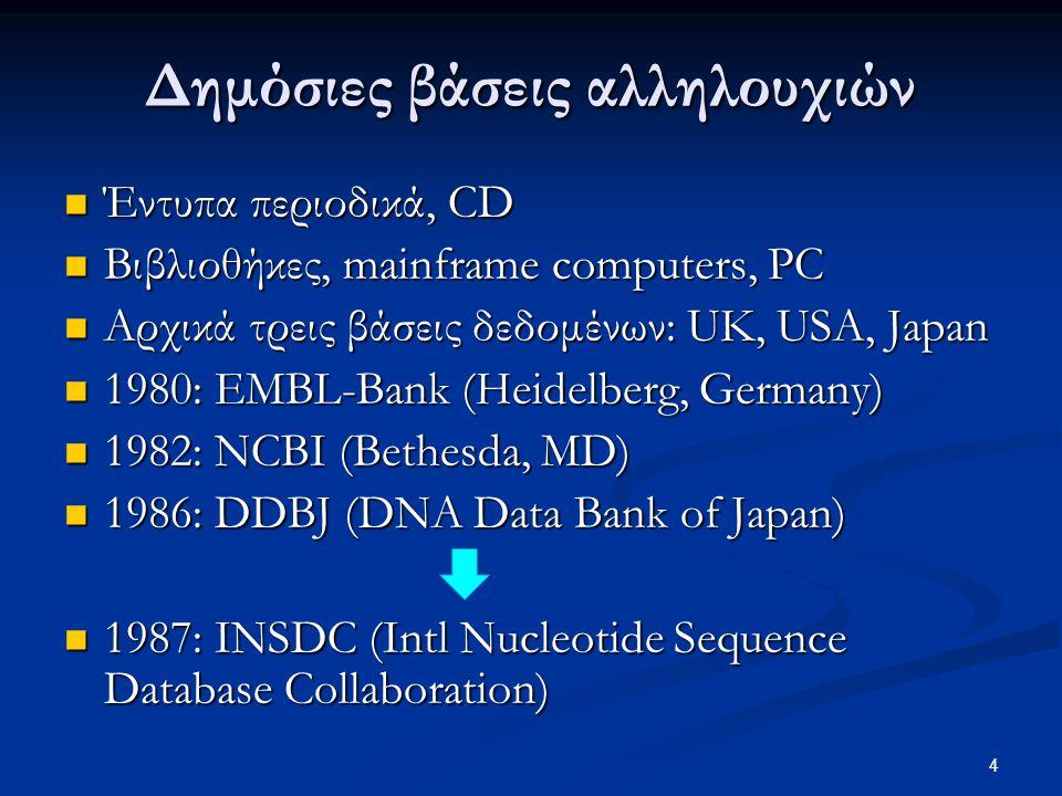4 Δημόσιες βάσεις αλληλουχιών Έντυπα περιοδικά, CD Έντυπα περιοδικά, CD Βιβλιοθήκες, mainframe computers, PC Βιβλιοθήκες, mainframe computers, PC Αρχι