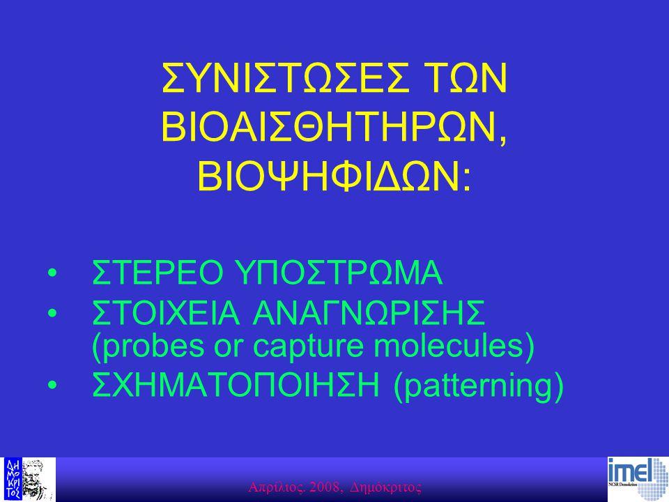 Aπρίλιος. 2008, Δημόκριτος ΣΥΝΙΣΤΩΣΕΣ ΤΩΝ ΒΙΟΑΙΣΘΗΤΗΡΩΝ, ΒΙΟΨΗΦΙΔΩΝ: ΣΤΕΡΕΟ ΥΠΟΣΤΡΩΜΑ ΣΤΟΙΧΕΙΑ AΝΑΓΝΩΡΙΣΗΣ (probes or capture molecules) ΣΧΗΜΑΤΟΠΟΙΗΣΗ