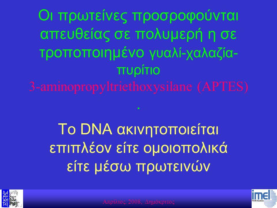 Aπρίλιος. 2008, Δημόκριτος Οι πρωτείνες προσροφούνται απευθείας σε πολυμερή η σε τροποποιημένο γυαλί-χαλαζία- πυρίτιο 3-aminopropyltriethoxysilane (AP