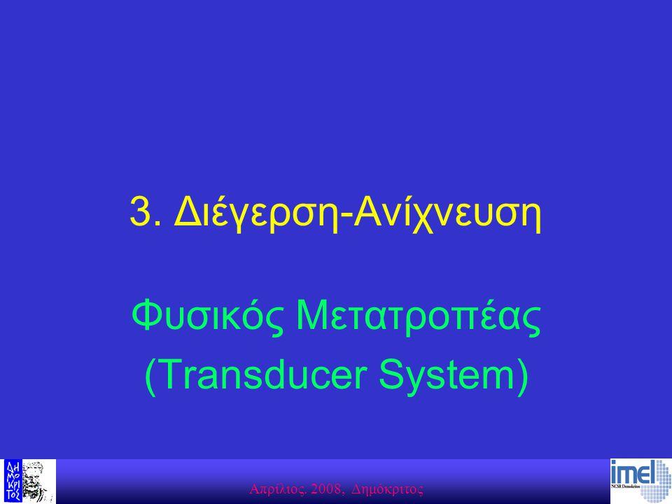 Aπρίλιος. 2008, Δημόκριτος 3. Διέγερση-Ανίχνευση Φυσικός Μετατροπέας (Transducer System)