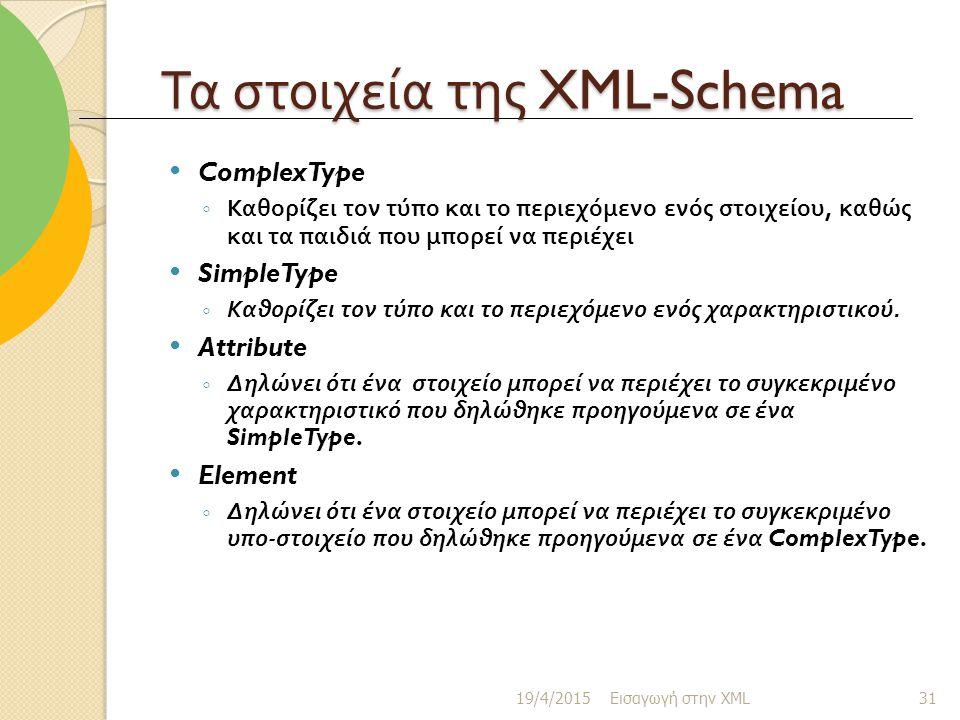 Τα στοιχεία της XML-Schema ComplexType ◦ Καθορίζει τον τύπο και το περιεχόμενο ενός στοιχείου, καθώς και τα παιδιά που μπορεί να περιέχει SimpleType ◦ Καθορίζει τον τύπο και το περιεχόμενο ενός χαρακτηριστικού.