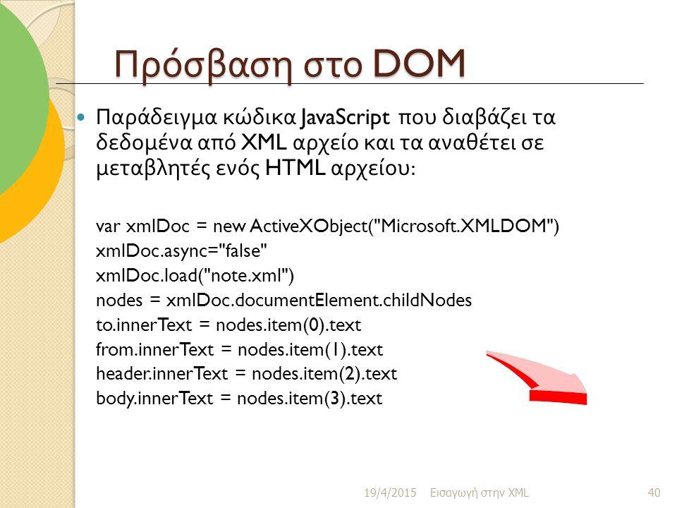 Πρόσβαση στο DOM Παράδειγμα κώδικα JavaScript που διαβάζει τα δεδομένα από XML αρχείο και τα αναθέτει σε μεταβλητές ενός HTML αρχείου : var xmlDoc = new ActiveXObject( Microsoft.XMLDOM ) xmlDoc.async= false xmlDoc.load( note.xml ) nodes = xmlDoc.documentElement.childNodes to.innerText = nodes.item(0).text from.innerText = nodes.item(1).text header.innerText = nodes.item(2).text body.innerText = nodes.item(3).text 19/4/2015 Εισαγωγή στην XML 40
