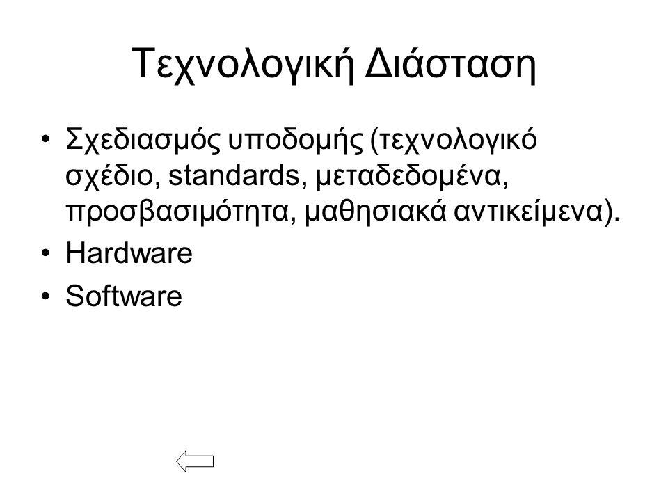 Τεχνολογική Διάσταση Σχεδιασμός υποδομής (τεχνολογικό σχέδιο, standards, μεταδεδομένα, προσβασιμότητα, μαθησιακά αντικείμενα).