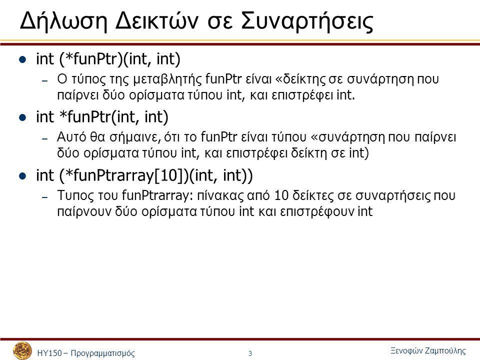 ΗΥ 150 – Προγραμματισμός Ξενοφών Ζαμπούλης 3 Δήλωση Δεικτών σε Συναρτήσεις int (*funPtr)(int, int) – Ο τύ π ος της μεταβλητής funPtr είναι « δείκτης σε συνάρτηση π ου π αίρνει δύο ορίσματα τύ π ου int, και ε π ιστρέφει int.