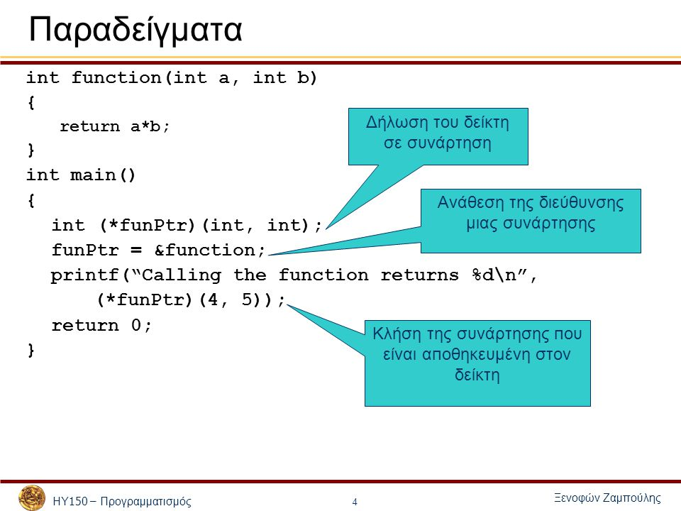 ΗΥ 150 – Προγραμματισμός Ξενοφών Ζαμπούλης 4 Παραδείγματα int function(int a, int b) { return a*b; } int main() { int (*funPtr)(int, int); funPtr = &function; printf( Calling the function returns %d\n , (*funPtr)(4, 5)); return 0; } Δήλωση του δείκτη σε συνάρτηση Ανάθεση της διεύθυνσης μιας συνάρτησης Κλήση της συνάρτησης π ου είναι α π οθηκευμένη στον δείκτη