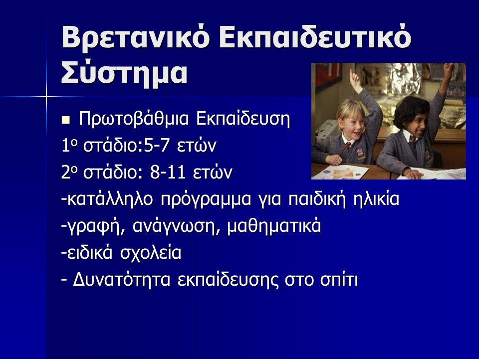Βρετανικό Εκπαιδευτικό Σύστημα Πρωτοβάθμια Εκπαίδευση Πρωτοβάθμια Εκπαίδευση 1 ο στάδιο:5-7 ετών 2 ο στάδιο: 8-11 ετών -κατάλληλο πρόγραμμα για παιδική ηλικία -γραφή, ανάγνωση, μαθηματικά -ειδικά σχολεία - Δυνατότητα εκπαίδευσης στο σπίτι