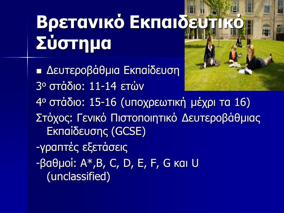 Βρετανικό Εκπαιδευτικό Σύστημα Δευτεροβάθμια Εκπαίδευση Δευτεροβάθμια Εκπαίδευση 3 ο στάδιο: 11-14 ετών 4 ο στάδιο: 15-16 (υποχρεωτική μέχρι τα 16) Στόχος: Γενικό Πιστοποιητικό Δευτεροβάθμιας Εκπαίδευσης (GCSE) -γραπτές εξετάσεις -βαθμοί: A*,B, C, D, E, F, G και U (unclassified)