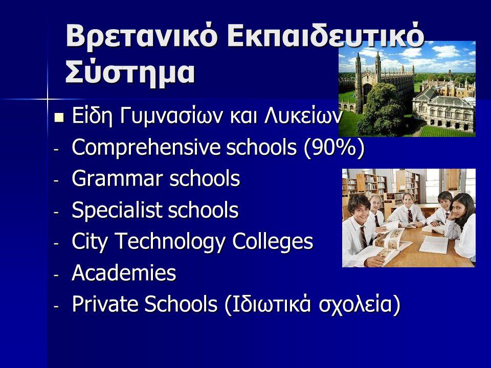 Βρετανικό Εκπαιδευτικό Σύστημα Είδη Γυμνασίων και Λυκείων Είδη Γυμνασίων και Λυκείων - Comprehensive schools (90%) - Grammar schools - Specialist schools - City Technology Colleges - Academies - Private Schools (Ιδιωτικά σχολεία)