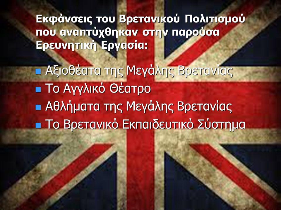 Εκφάνσεις του Βρετανικού Πολιτισμού που αναπτύχθηκαν στην παρούσα Ερευνητική Εργασία: Αξιοθέατα της Μεγάλης Βρετανίας Αξιοθέατα της Μεγάλης Βρετανίας Το Αγγλικό Θέατρο Το Αγγλικό Θέατρο Αθλήματα της Μεγάλης Βρετανίας Αθλήματα της Μεγάλης Βρετανίας Το Βρετανικό Εκπαιδευτικό Σύστημα Το Βρετανικό Εκπαιδευτικό Σύστημα
