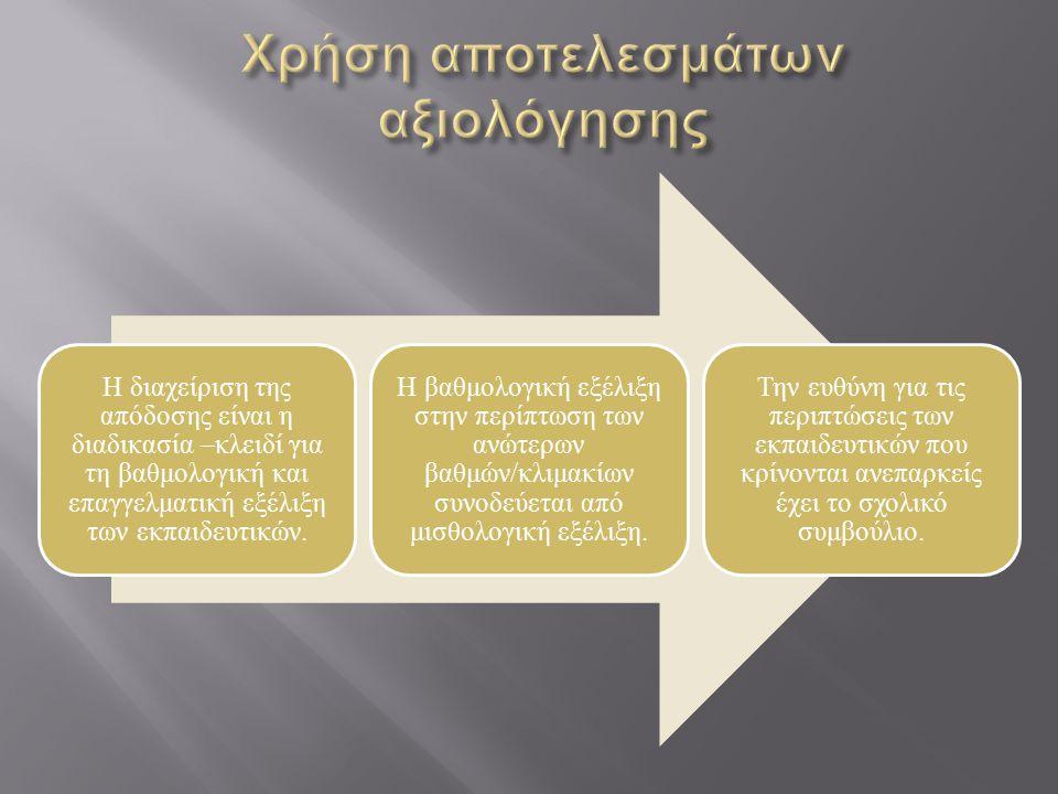 Η διαχείριση της απόδοσης είναι η διαδικασία –κλειδί για τη βαθμολογική και επαγγελματική εξέλιξη των εκπαιδευτικών. Η βαθμολογική εξέλιξη στην περίπτ