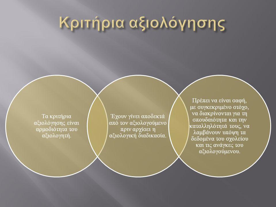 Τα κριτήρια αξιολόγησης είναι αρμοδιότητα του αξιολογητή. Έχουν γίνει αποδεκτά από τον αξιολογούμενο πριν αρχίσει η αξιολογική διαδικασία. Πρέπει να ε