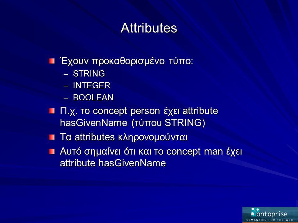 Attributes Έχουν προκαθορισμένο τύπο: –STRING –INTEGER –BOOLEAN Π.χ.