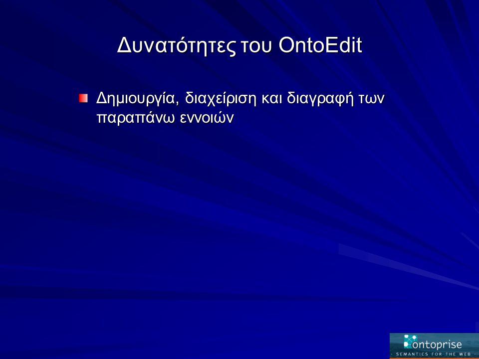 Δυνατότητες του OntoEdit Δημιουργία, διαχείριση και διαγραφή των παραπάνω εννοιών