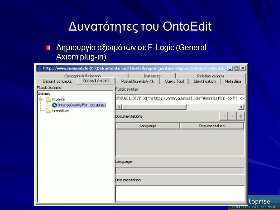 Δυνατότητες του OntoEdit Δημιουργία αξιωμάτων σε F-Logic (General Axiom plug-in)