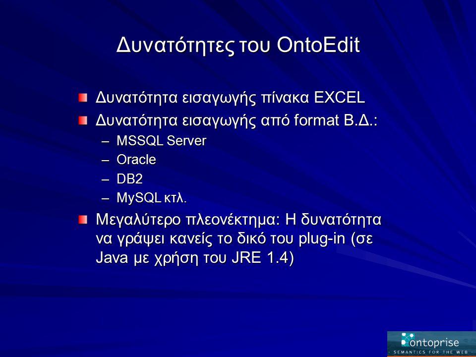 Δυνατότητες του OntoEdit Δυνατότητα εισαγωγής πίνακα EXCEL Δυνατότητα εισαγωγής από format Β.Δ.: –MSSQL Server –Oracle –DB2 –MySQL κτλ.