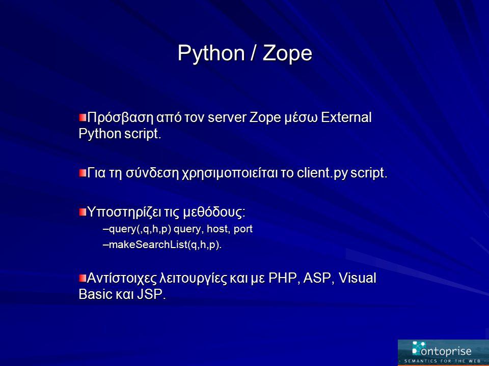 Python / Zope Πρόσβαση από τον server Zope μέσω External Python script.