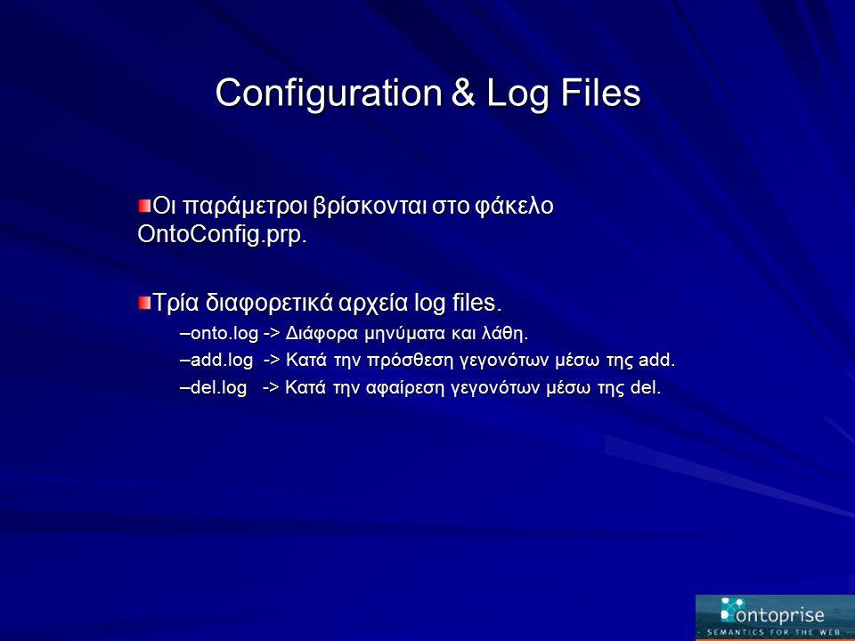 Configuration & Log Files Οι παράμετροι βρίσκονται στο φάκελο OntoConfig.prp.